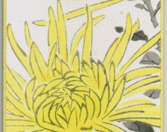 "Japanese woodblock print, Fukuda Suiko,""Chrysanthemum and  Butterfly"""