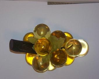 Vintage Amber Lucite Grape Cluster