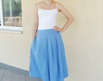Skirt Vintage skirt Blue Retro Skirt Cotton vintage skirt Vintage blue skirt  Summer skirt High Waist skirt Pleated skirt European Size 48