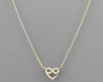Crystal Paved Infinity Heart Knot Charm Necklace