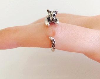 Animal ring, Leopard wrap ring, Adjustable ring