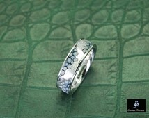 Unique  Wedding Band , 18K White Gold wedding Ring ,  Gold Wedding Band, Unique Ring, 18K Gold with Genuine Leather Mens Band Ring
