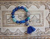Sakarya oversize titanium druzy agate, ancient Roman glass Berber pottery and pavé tassel bracelet