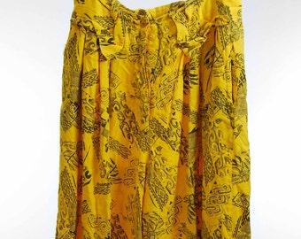 90s yellow pattern skirt/pants