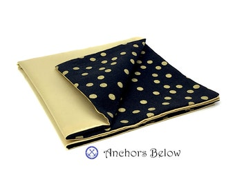 Gold Pocket Square, Gold Polka Dot Pocket Square, Black Pocket Square, Double Sided Pocket Square, Special Event, Holiday Party, Weddings