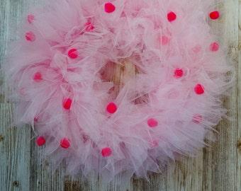 Pink Polka-Dot Tulle Wreath