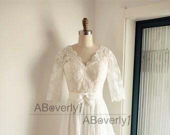 Boho Beach Long Lace Sleeves Chiffon Wedding Dress V Back Backless Open Back Bridal Gown