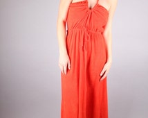 vtg 70's RED TERRYCLOTH halter MAXI dress