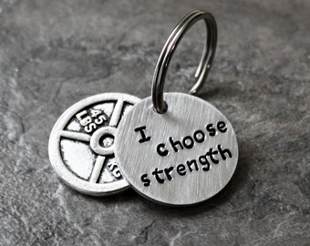 45lb Weight Plate Keychain, I Choose Strength Weights Key Chain, Keyring Weight Lifting Bodybuilding 45 pound 20.4kg 20.4