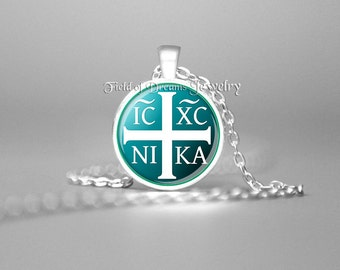 JESUS CHRISTOGRAM NECKLACE Christian Necklace Crucifix Christian Gifts Religious Gifts Gift Jesus Necklace Spiritual Necklace Crucifix Aqua