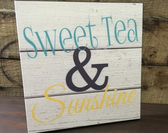 Sweet Tea And Sunshine Wood Sign, Housewarming Gift, Just Because Gift, Gift For Her, Birthday Gift,  Couples Gift