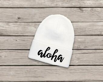 Aloha Slouch Beanie Hat Hawaii Quote Stitched Stitch Cuffed Winter Apparel Black Gray Grey Cuffed Pom Pom Slouchy Beanies Knit Cap Hats