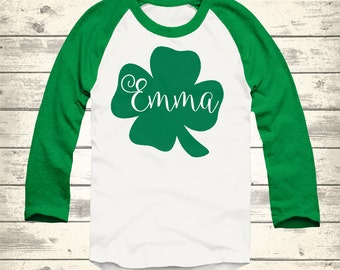 Clover St Patricks Day Raglan, Personalized St Patricks Day Shirt, Toddler St Patricks Day Shirt, Youth St Patricks Day Shirt, Irish Shirt