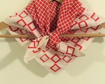 Vintage French scarf in red and white with mod squares and checks and rolled hem, made in France