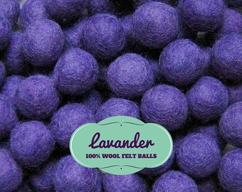 1.5cm Felt Balls 100% Wool Felt Balls, 25 Wool Felt Beads 15mm, Felted Balls, Felt Pom Poms, Lavender Purple Felt Balls, Felt Pompoms Beads