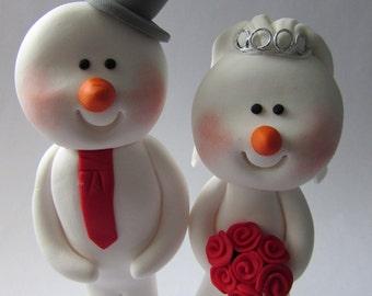 Snowman Wedding Cake Topper, Bride And Groom, Novelty Topper, Handmade