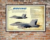 Blueprint Art of F/A 18 Super Hornet Plane, F18 Strike Fighter Technical Drawings Engineering Drawings Patent Blue Print Art Item 0216