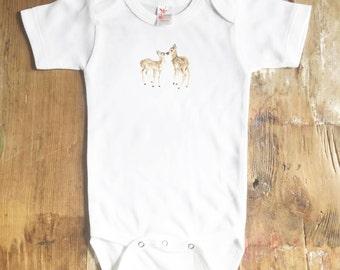 Kissing Deer Bodysuit - Woodland Animal Bodysuit - Baby Deer Bodysuit - Watercolor - Fawn Bodysuit - Baby Girl Bodysuit - Baby - Bodysuit