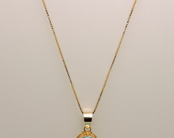 Lady's Yellow 18 Karat Oval Bezel Set Pendant With One 20.00X14.00Mm Oval Turquoise