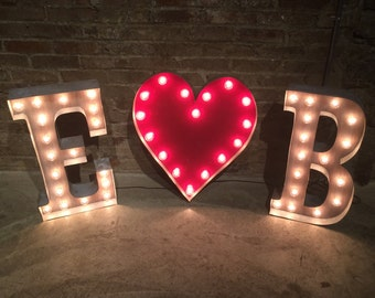 3 Custom Wedding Letters 2 Initials w/ Ampersand or  Heart, Plug-in or Battery LED, Initial Light Up Letter Sign / Wedding Marquee Sign