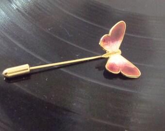 Butterfly Stick Pin Dark Pink White Gold Brooch