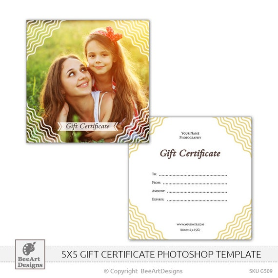 5x5 gift certificate psd photoshop template for. Black Bedroom Furniture Sets. Home Design Ideas