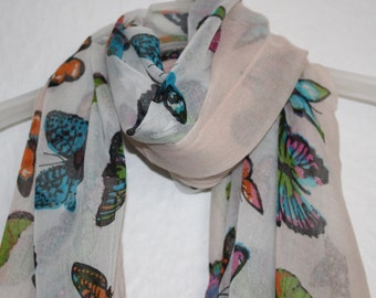 Peach And Cream Butterfly Scarf, For Her, Spring- summer Accessory, Grey Scarf, Fashion Accessory