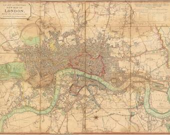 London Map, Map London, London 1813, London Map Print, London Print, Print London, Print London Map, London Print Map, Map Wall Decor, Maps