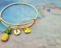 Pineapple Bangle, Gold Charm Bracelet, Pineapple Jewellery, Personalised Bangle, Gold Bangle, Holiday Gift, Summer, Tropical Fruit Gift