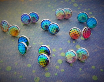 Silver Mermaid Earrings, Mermaid Scales Earrings, Mermaid Studs, Dragon Studs, Fantasy Earrings, Mermaid Hair, Mermaid Tail, Dragon Gift