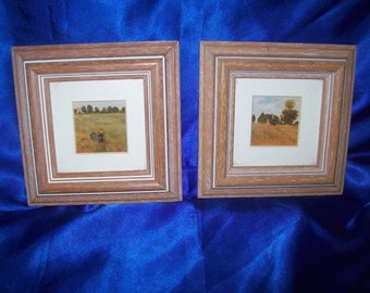 Framed Miniture Pictures 'Victorians walking in poppy fields'