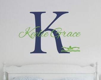 Personalized Name Teen Swimming Wall Decal Sticker