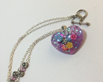 Resin heart necklace-resin heart with flowers