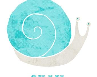 Snail (Blue) - Printable Nursery Art