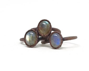 Labradorite ring   Raw ring   Stone ring   Raw stone ring   Raw crystal ring   Raw stone engagement ring   Electroformed jewelry