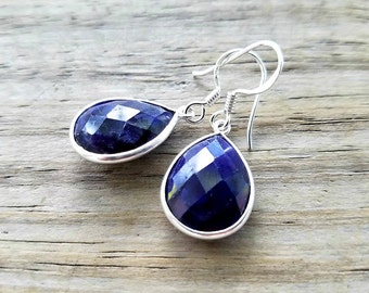 Sapphire Earrings - September Birthstone Earrings -Bridal Drop Earrings - Sterling Silver Blue Sapphire Jewelry -  Midnight Blue Earrings
