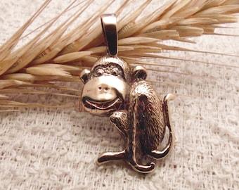 New Year Monkey!! Monkey pendent. Bronze monkey neckless. Monkey new year gift. New year monkey present. Symbol of the New Year 2016