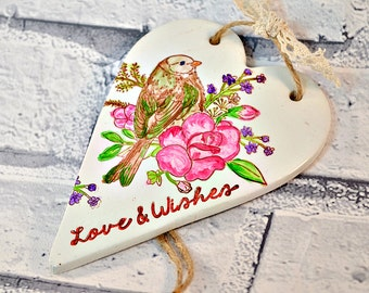 Hanging decoration, Birthday gift for her, Christmas gift for mum, Love & wishes, Bird lover gift, Rustic heart Gift for sister, Best friend
