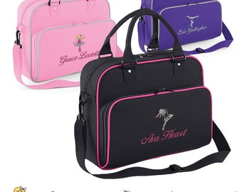 Personalised JUNIOR Sport Holdall, Embroidered, Choose your name and from 6 logos (Ballet, Dancing, Swimming, Gymnastics, etc)