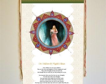 On Children by Kahlil Gibran, Wall art, wall hanging, kahlil gibran, Sufi Art, Kahlil Gibran, gifts, decor, khalil gibran,