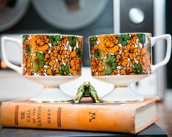 Pedestal Orange Flower Ceramic Coffee Mugs - Set of 2