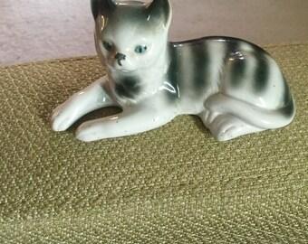 Sitzendorf Gray and White Striped Tabby Cat Figurine