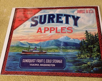 Original 1930's Yakima, Washington Surety Apples Crate Label