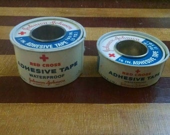 Red Cross Adhesive Tape Waterproof by Johnson & Johnson - Set of 2 - Vintage 1960s