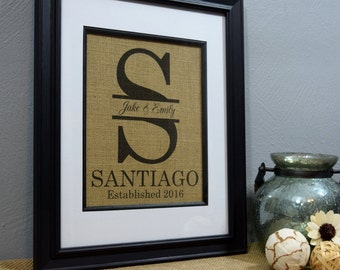 Framed Burlap Print - Framed Monogram -  Personalized Wedding Gift - Housewarming Gift - Gift For Couples - Burlap Wall Art - Personalized