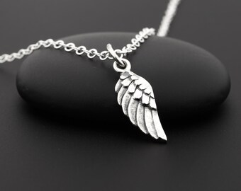 Angel Wing Necklace, Angel Wing Jewelry, Sterling Silver, Angel Wing Charm, Faith Necklace, Guardian Angel Necklace, Silver Wings, Religious