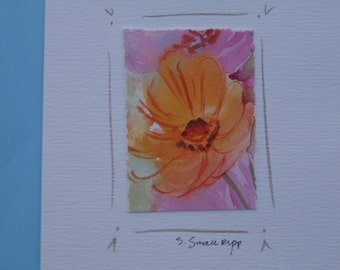 original watercolor notecard, handmade blank notecard, tiny original flower painting