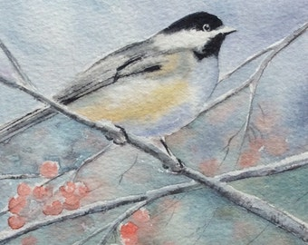 Bird painting, original watercolor, chickadee painting, 5x5 inches, birds in watercolor