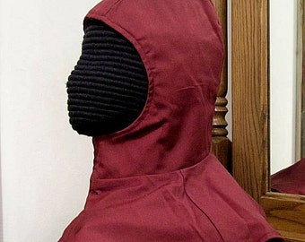Burgundy Undermask Fencing Hood - SCA Rapier Armor - Arming Cap - Coif
