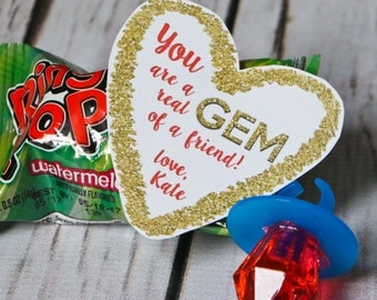 Valentine Printable - You are a REAL GEM of a FRIEND! - Personalized - Ring Pop Valentine Printable